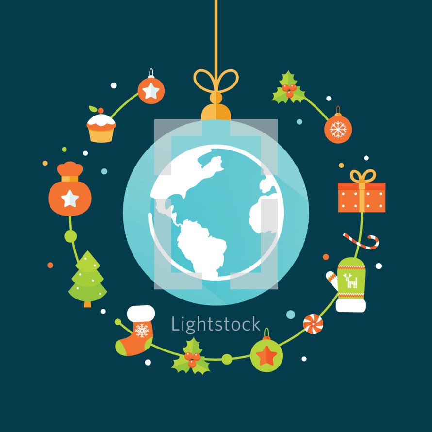 Earth Globe Surrounded by Christmas Icons. Christmas Around the World