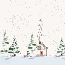 smoke from a chimney on a house and snowman in snow