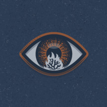 The burning bush seen in the reflection of Moses' eye.