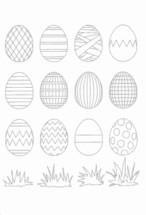 A lot of Easter eggs with different patterns to color yourself for Sunday school.