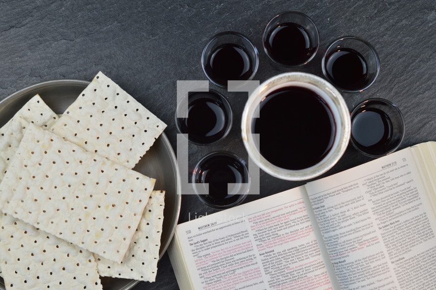 Open Bible, unleavened bread and wine cups