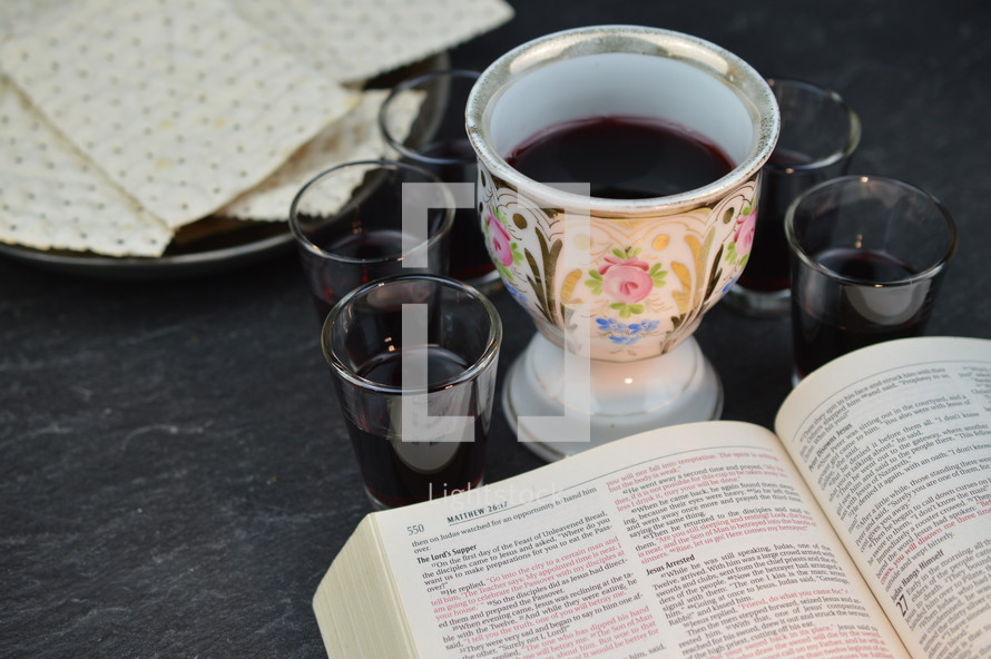 open Bible, unleavened bread, and wine cups