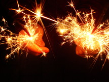 sparklers at New Year s Eve