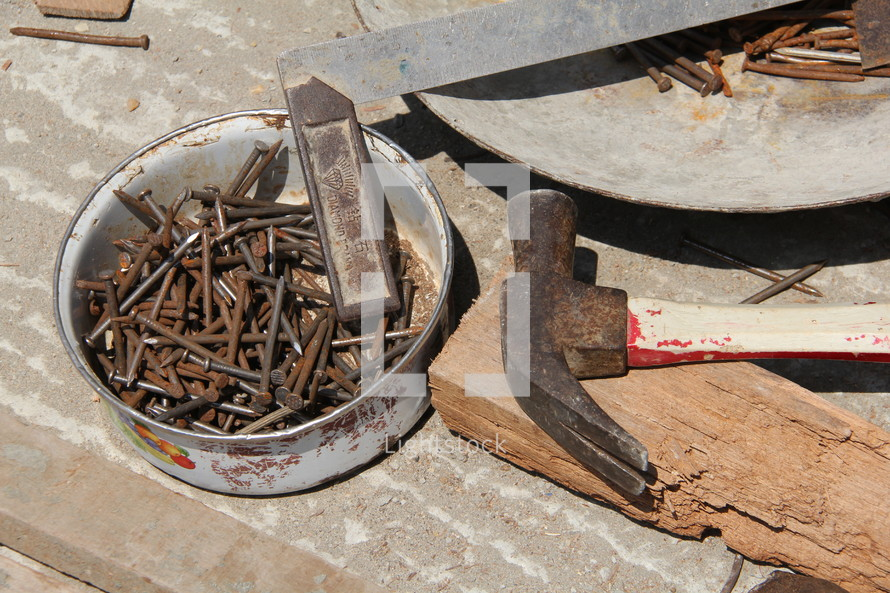rusty, nails, hammer, crow bar, tools, chisel
