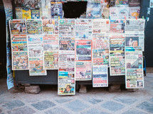 A newspaper stand in a South American city.