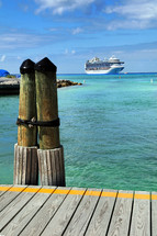 Caribbean port and cruise ship