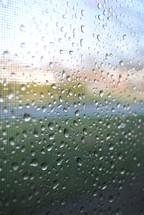 Raindrops on a window.