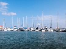 sailboats and yachts in a marina