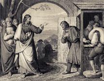A painting depicting Jesus calling Matthew.