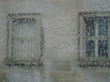 Raindrops on a window pane.