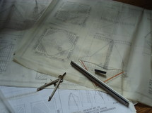 Blueprint for a church building,