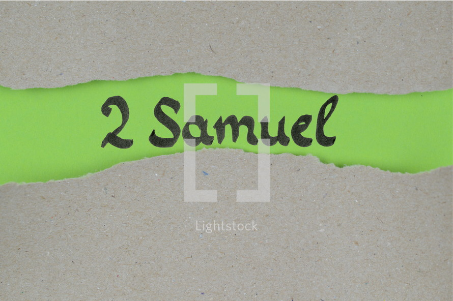 Title 2 Samuel - torn open kraft paper over green paper with the name of the book 2 Samuel