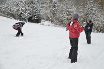 snowball fight between good friends