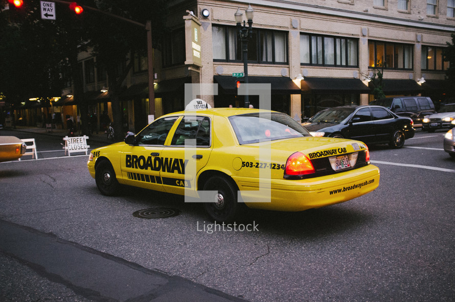 Taxi cab in traffic