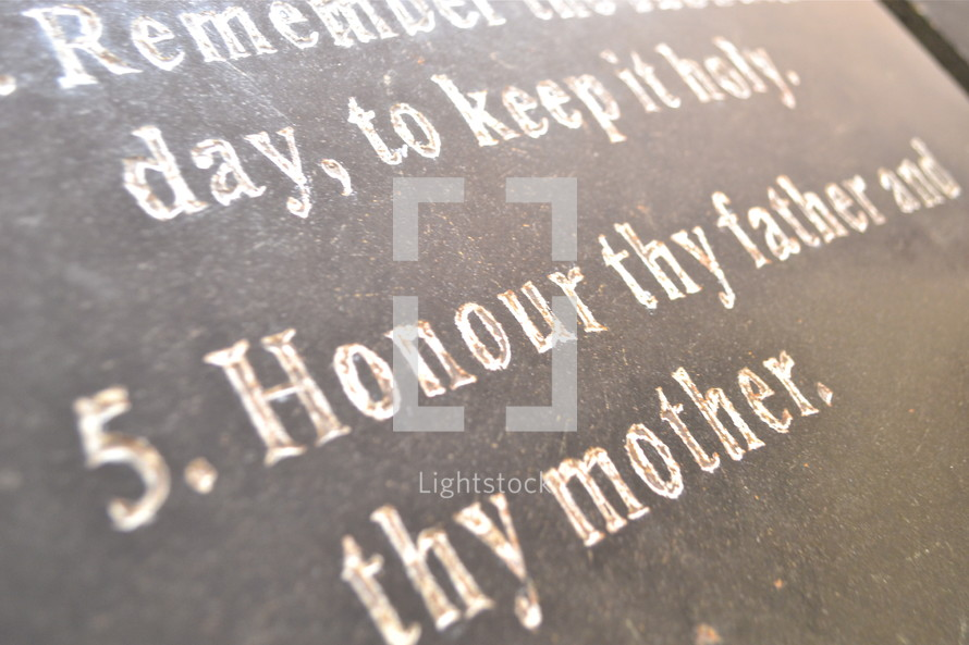 Fifth commandment ; honor your father and your mother