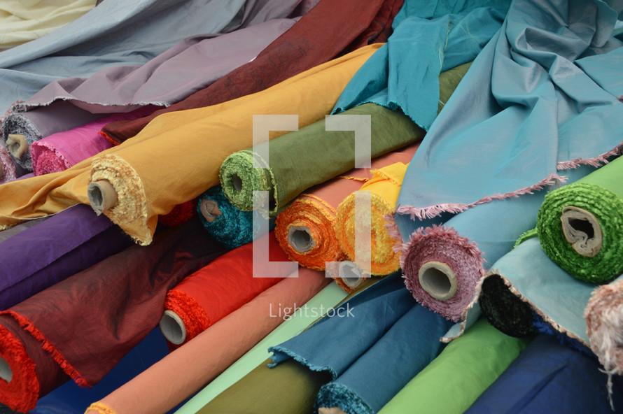 spools of fabric