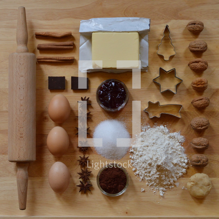Flat lay with baking ingredients for christmas cookies as a square
