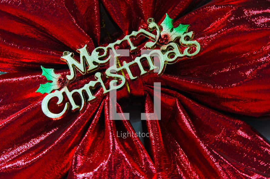 Merry Christmas greeting. Red Ribbon.