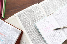 journal and highlighted pages of a Bible