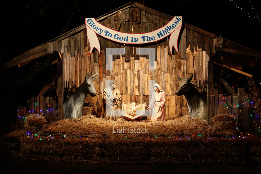 nativity scene - glory to God in the highest