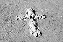 ashes in the shape of a cross
