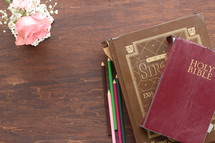 Holy Bible, colored pencils, journal