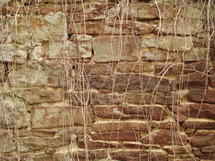 A stacked stone wall.