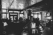 a dimly light restaurant