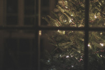 A Christmas tree with lights through a window