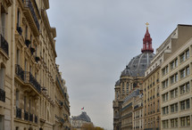 dome, steeple, cross topper, row houses, buildings, balconies, terraces, windows, European