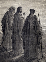 Artwork depicting Jesus and disciples on the road to Emmaus.
