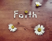 faith in daisy petals