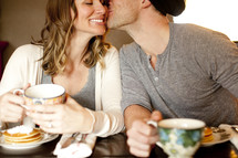 breakfast, pancakes, eating, fork, man, couple, woman, coffee