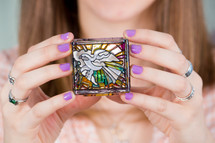 white dove stained glass box