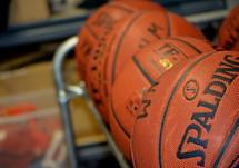 basketballs on a rack