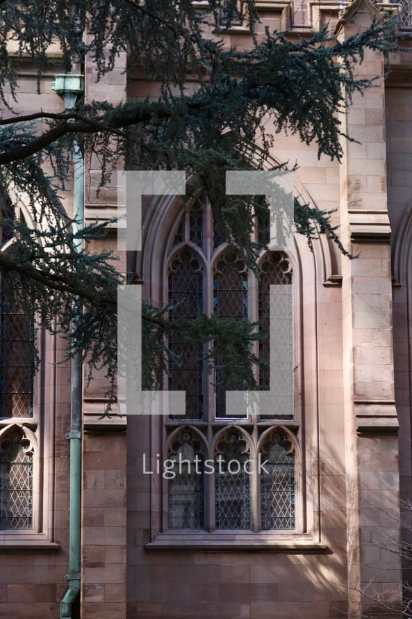 arched exterior window on a cathedral