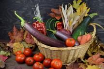 vegetables in a wicker basket