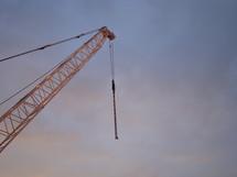 building crane in front of the evening sky,  building crane, crane, construction, lift, heave, uplift, lift up, elevation, raise, steel, constructional, site, construction area, building, iron, construct, structure, build, sky, evening, sunset, sundown, orange, purple