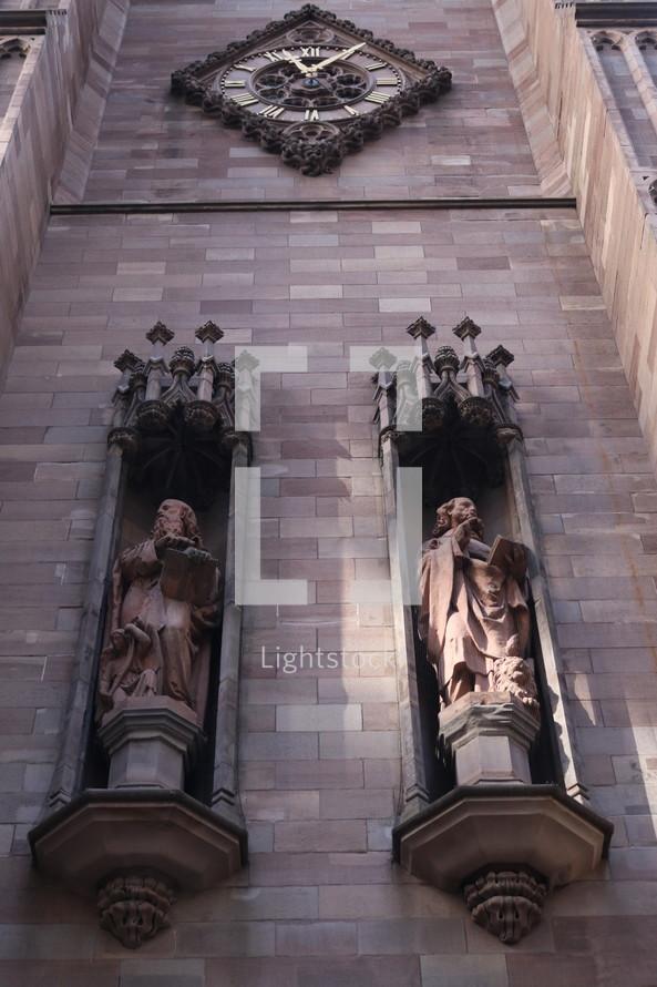 looking up at cathedral exterior walls
