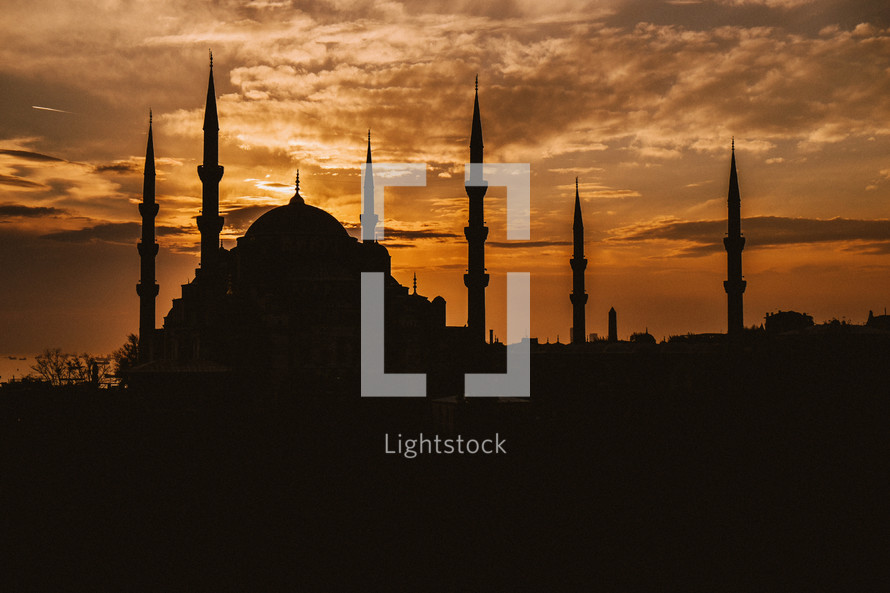 Silhouette of a mosque at sunset in Turkey.