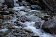 water flowing in a creek