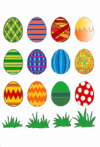 A lot of colorfully painted Easter eggs with different patterns.