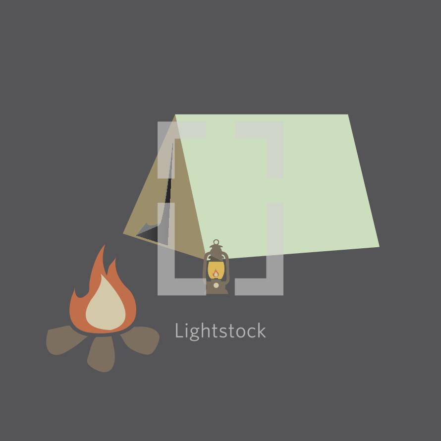 tent, campfire, and lantern illustration