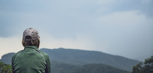 man looking at the Blue Ridge Mountains