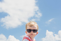 toddler boy wearing sunglasses