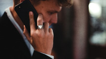 business man talking on a cellphone