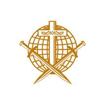Church logo. Christian symbols. Cross of Jesus Christ, globe, crown of thorns and swords.