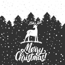 Christmas trees covered with snow, deer, lettering Merry Christmas.