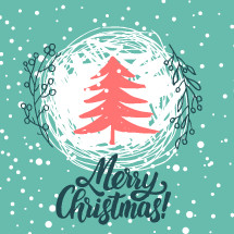 Christmas trees covered with snow, snowflakes, patterns, lettering - Merry Christmas.