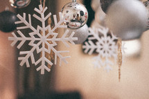 hanging snowflake Christmas ornaments